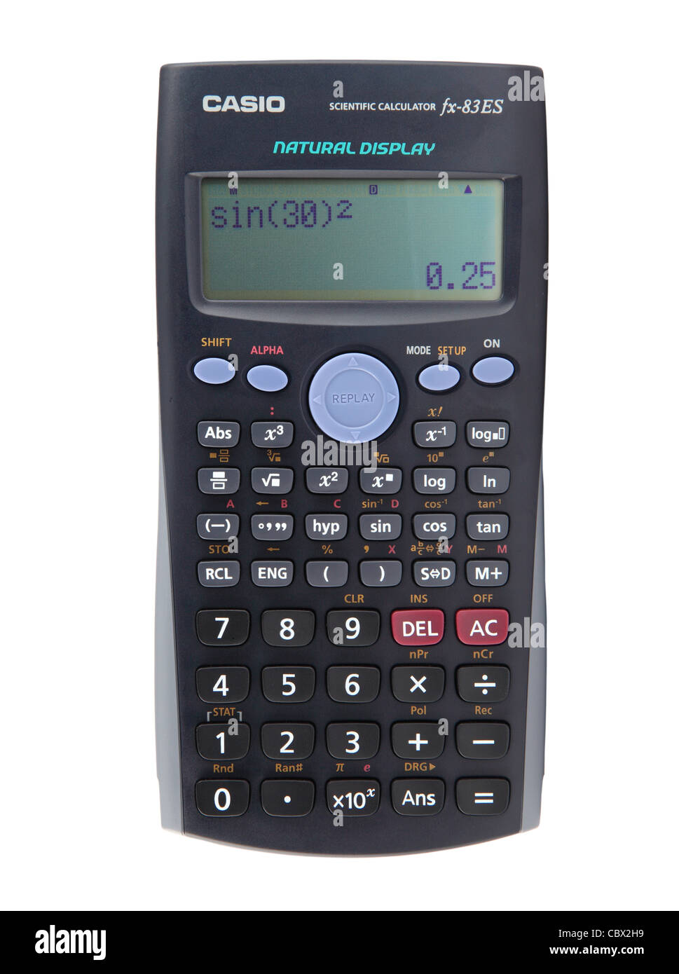 Casio scientific calculator showing a trigonometry calculation  isolated on white background - Stock Image