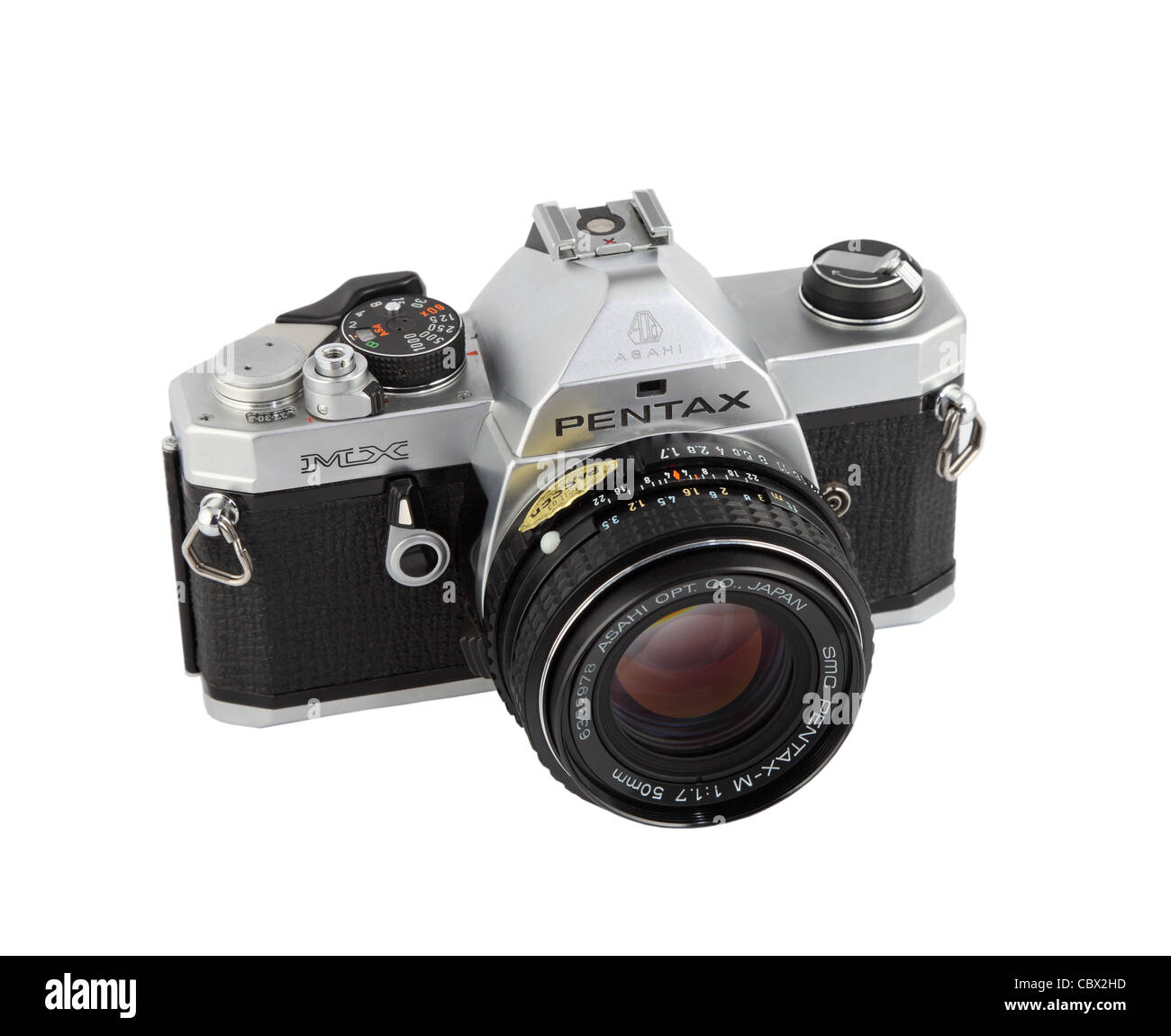 Classic 35mm film camera the Pentax MX  isolated on white background Stock Photo