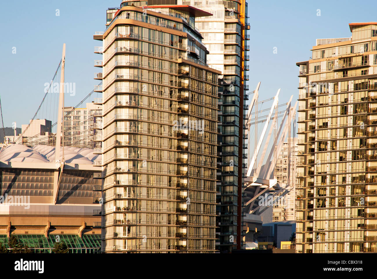 Condominium high rises in downtown Vancouver, British Columbia, Canada - Stock Image