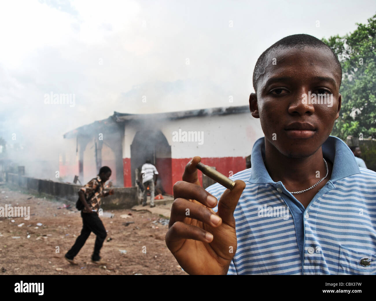 Bullets fired by police during political violence in Bo, ahead of 2012 elections in Sierra Leone (APC office in - Stock Image