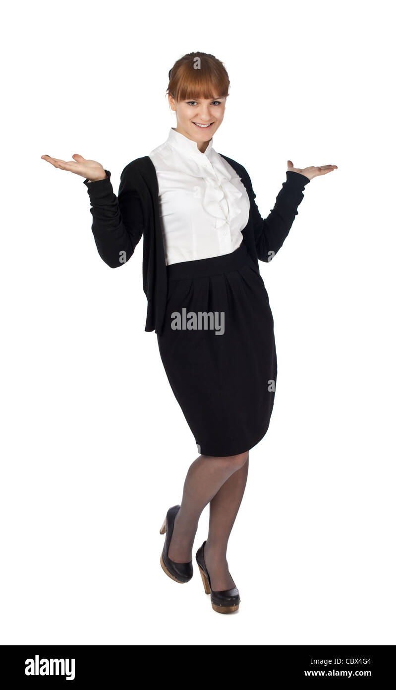 Female holding something isolated posing woman - Stock Image