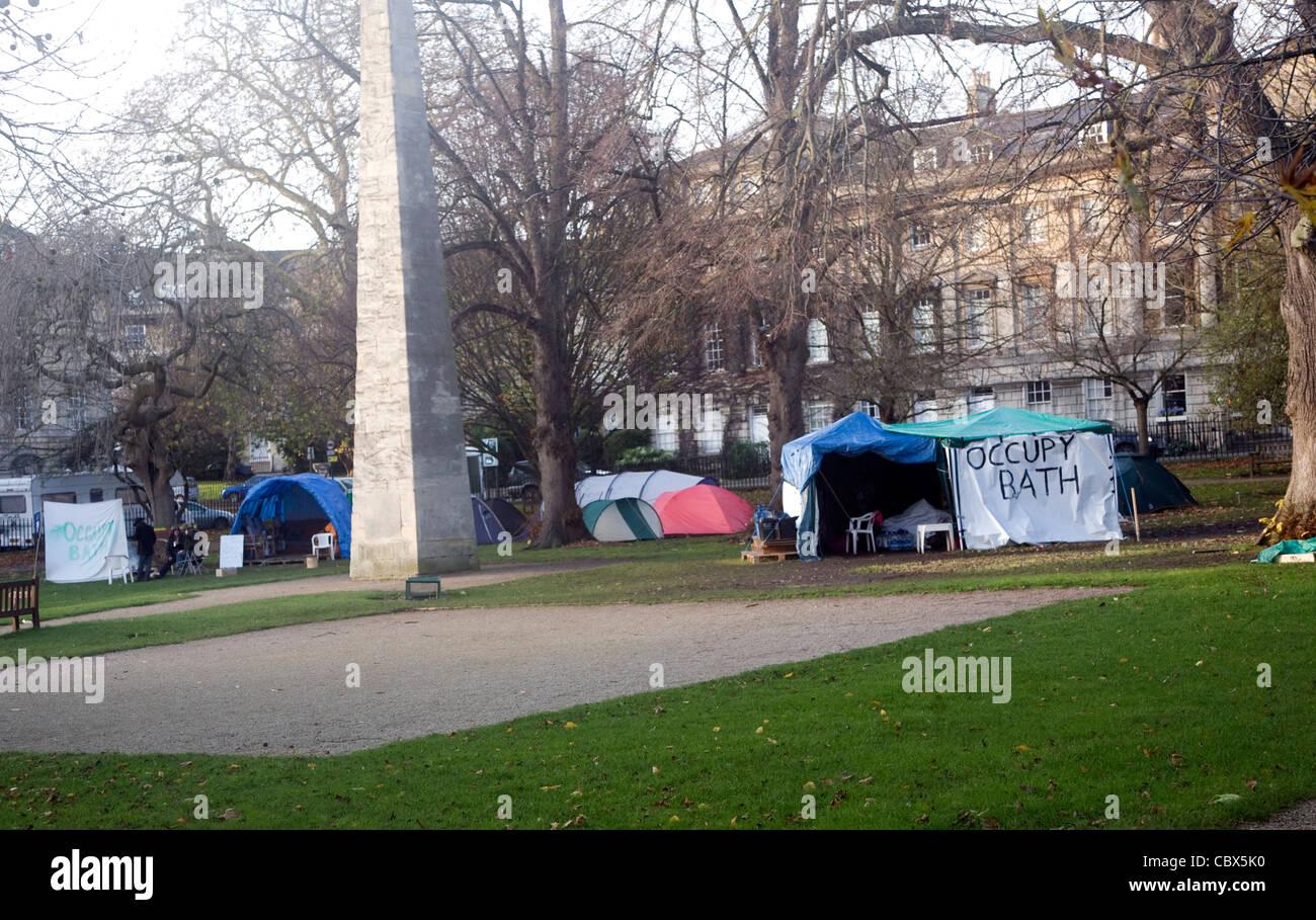 Occupy Bath anti capitalist protest camp, Queen Square, Bath, England, December 2011 - Stock Image