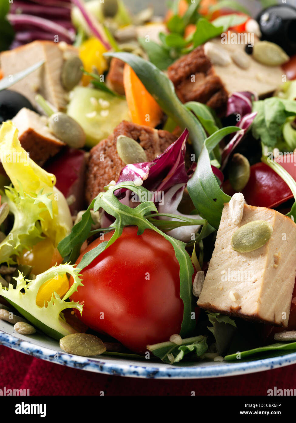 Smoked tofu salad - Stock Image