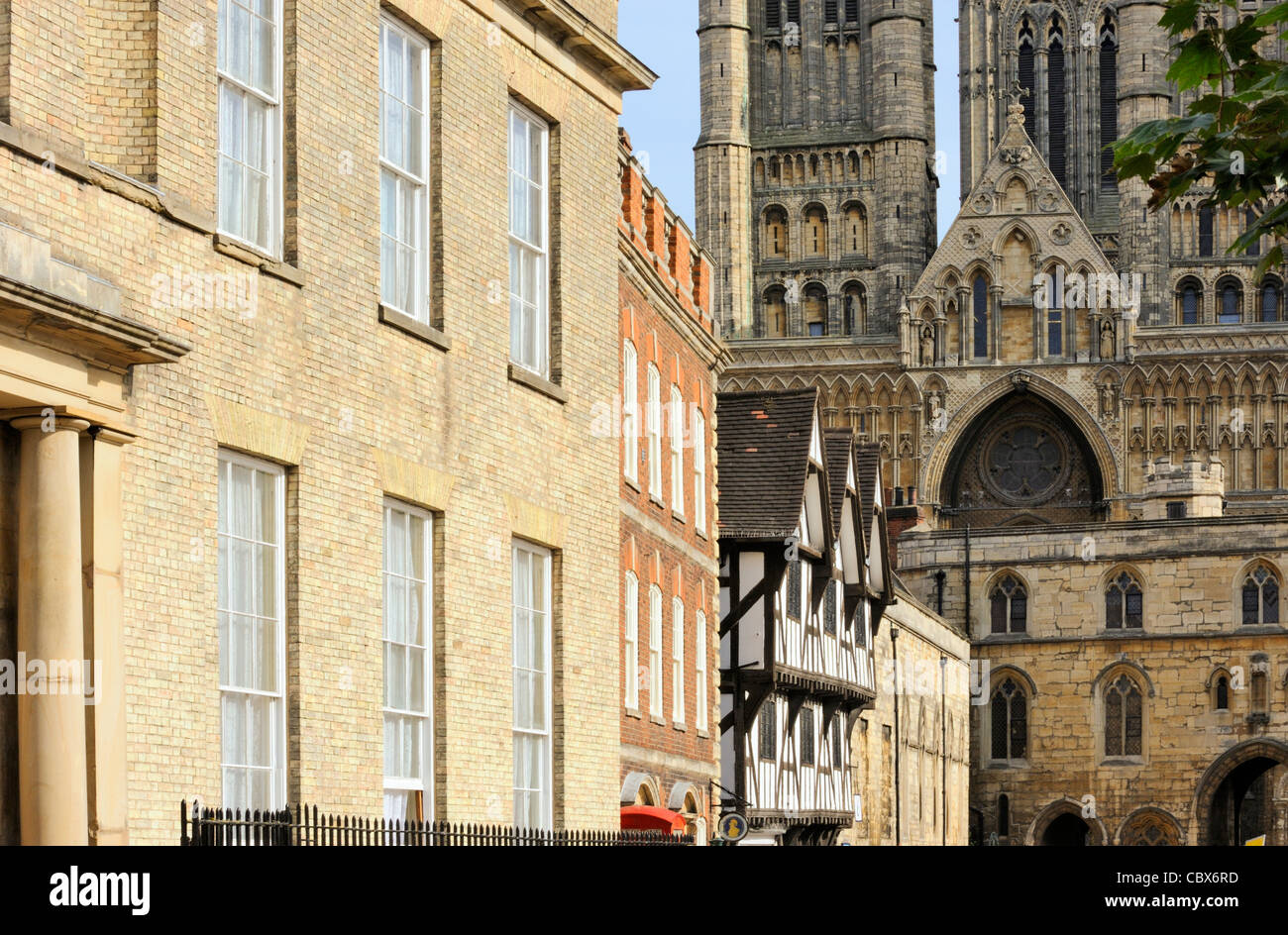 Drury Lane and the cathedral in Lincoln - Stock Image