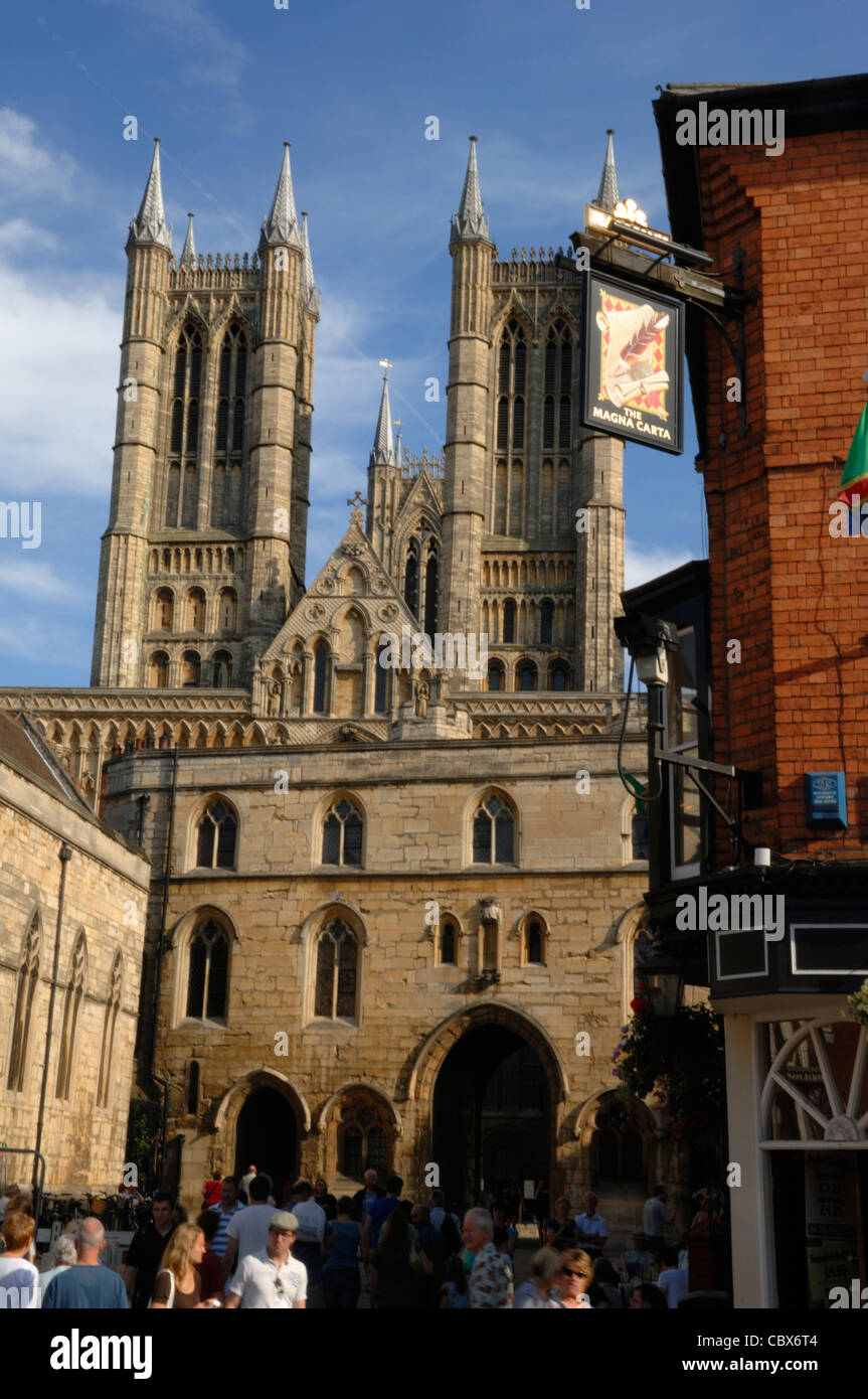 Drury  Lane and Lincoln Cathedral - Stock Image