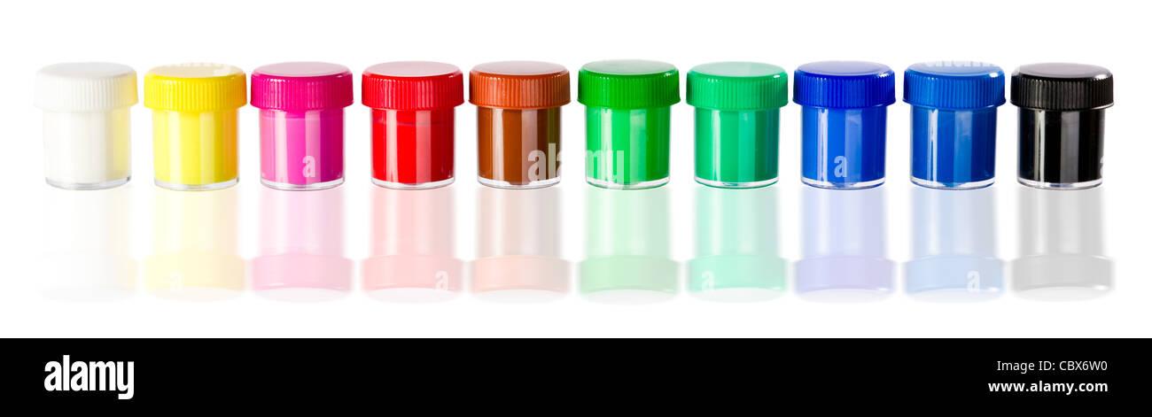 rainbow colors in bucket - Stock Image