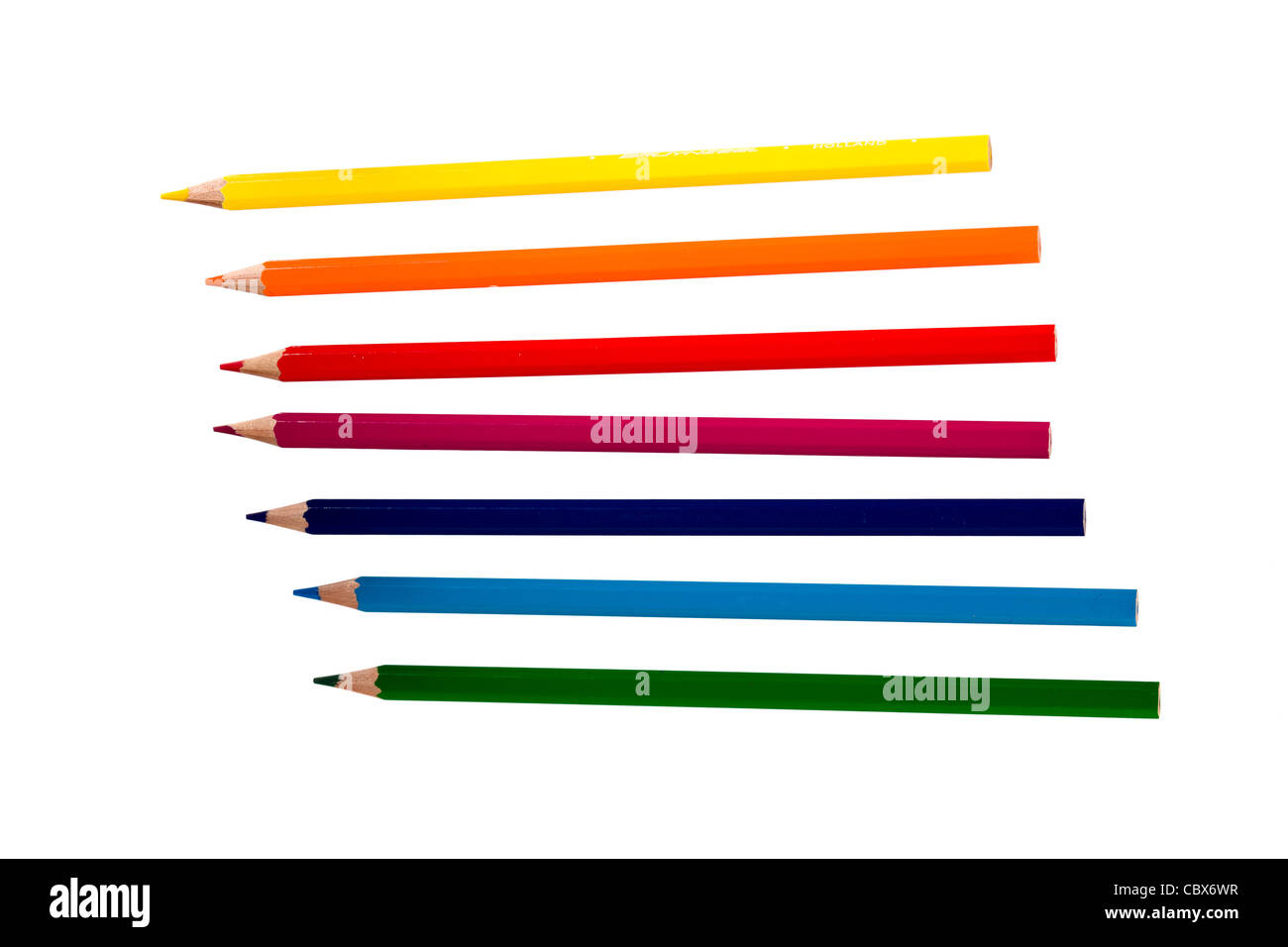 Color pencils isolated on white background - Stock Image