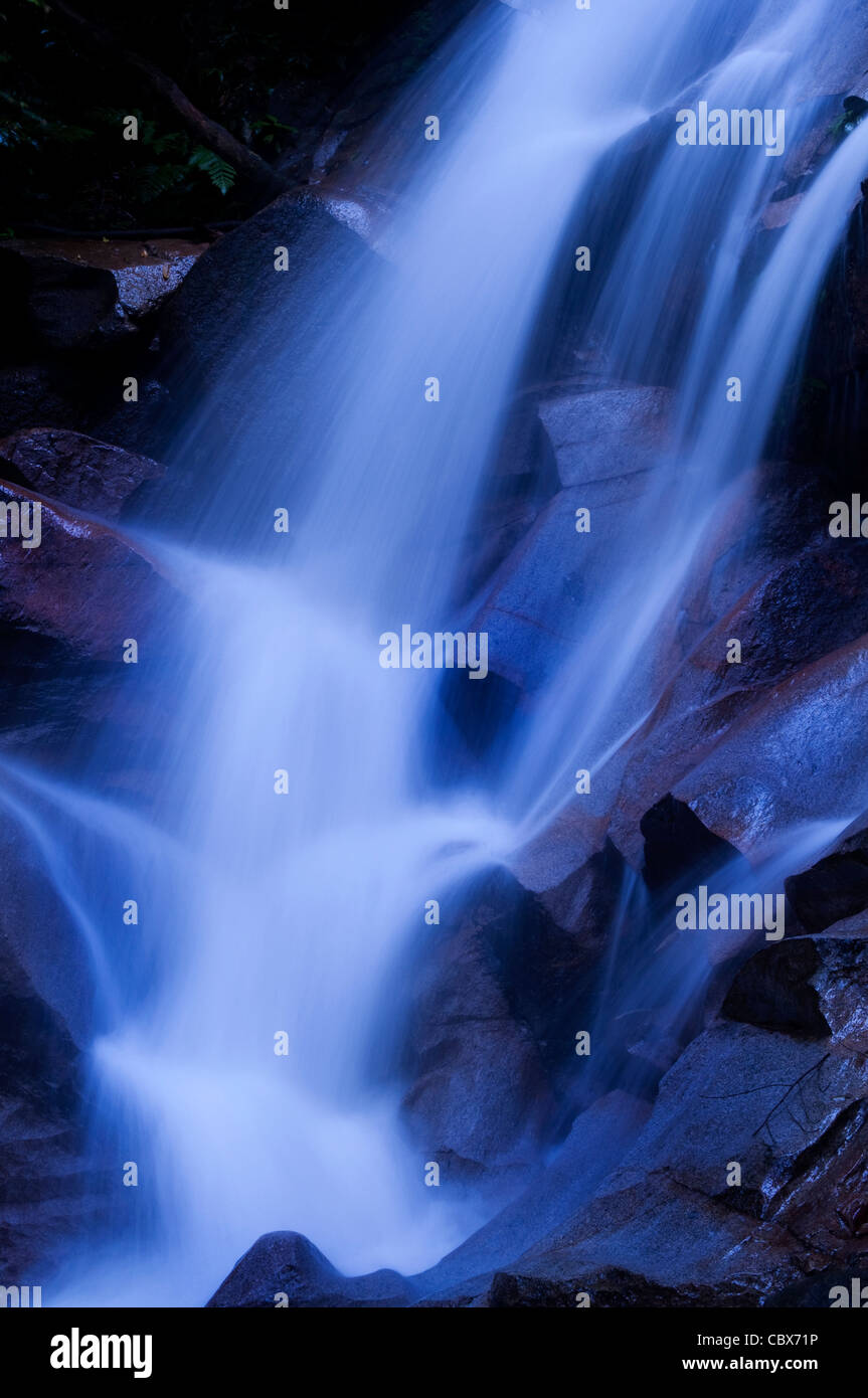 Natural waterfall in tropical rainforest Malaysia in dawn. - Stock Image