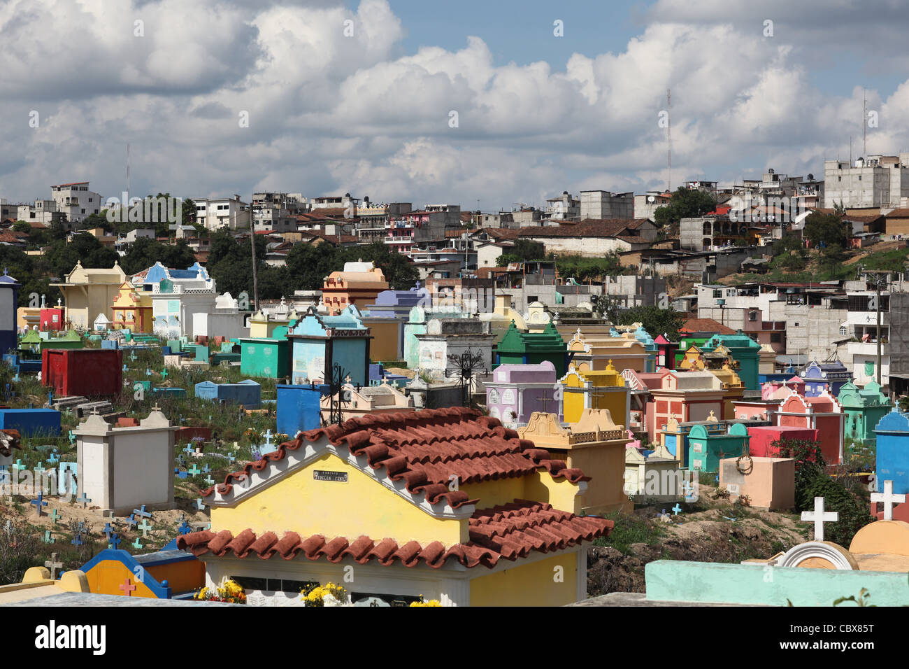 Colourful Cemetary near Chichicastenango, Guatemala - Stock Image
