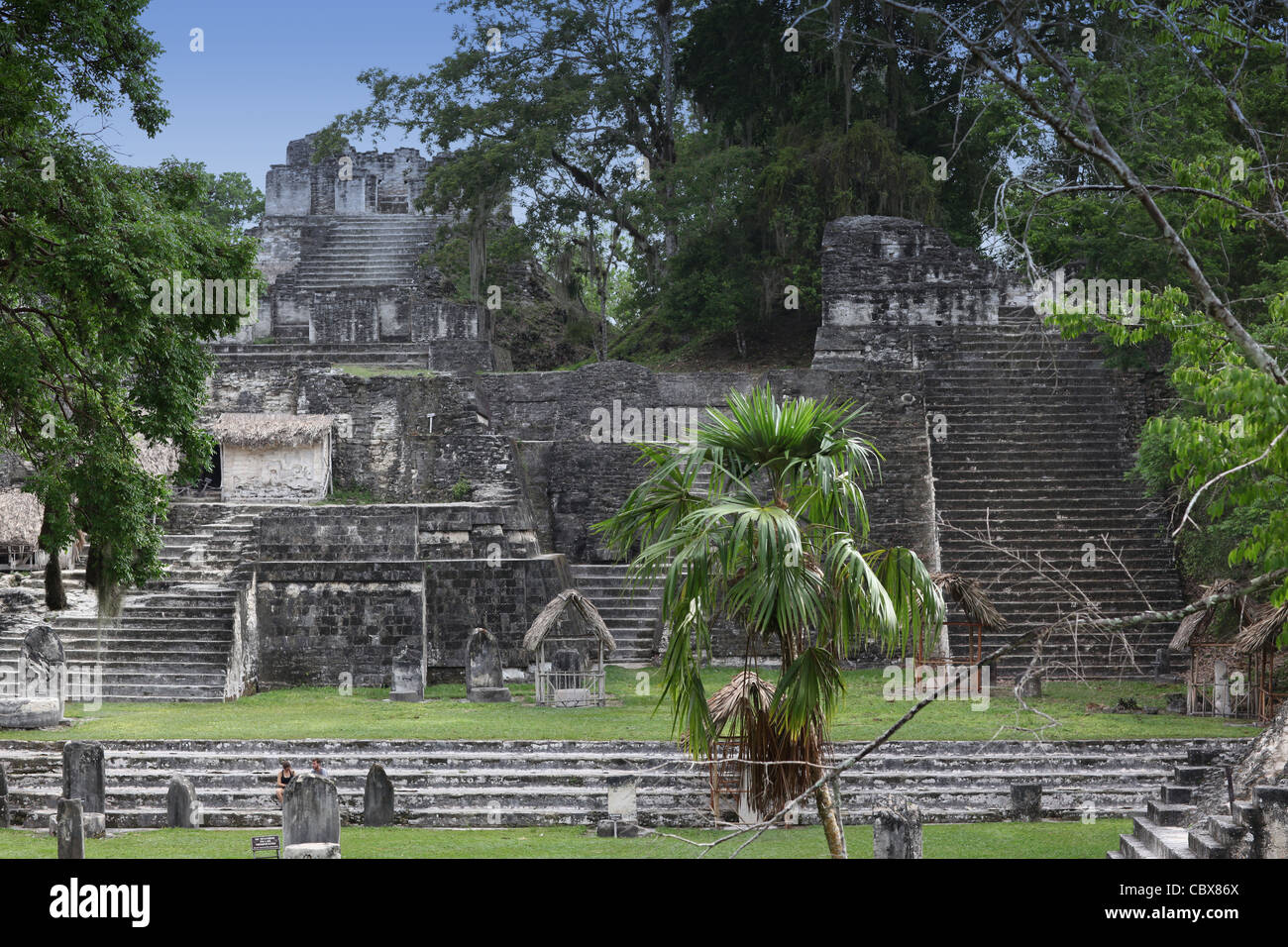 Ancient Maya buildings and temples, Tikal, Guatemala - Stock Image