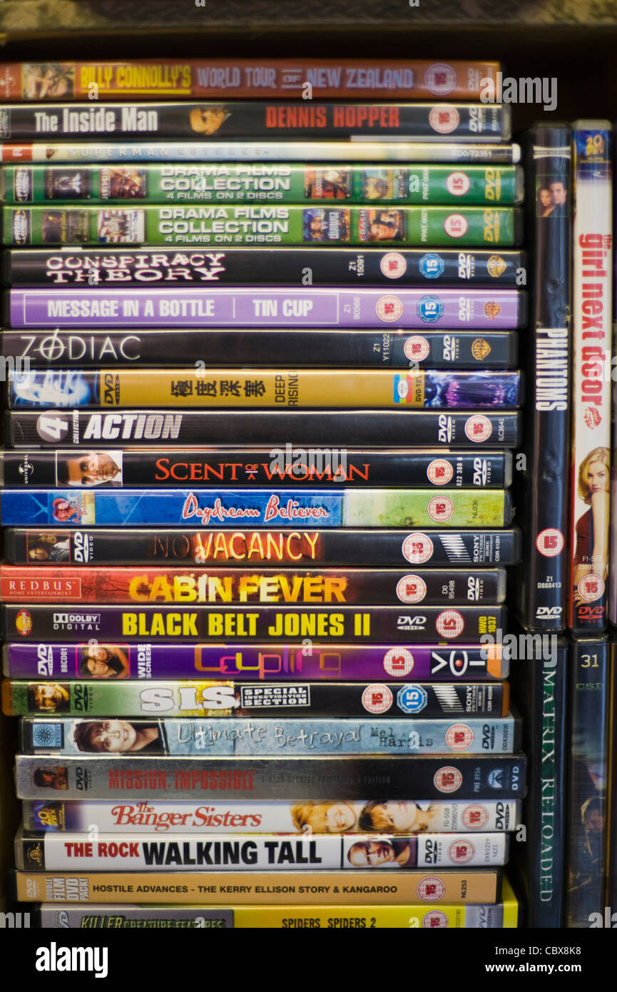 Secondhand dvds for sale in shop at Hay-on-Wye Powys Wales