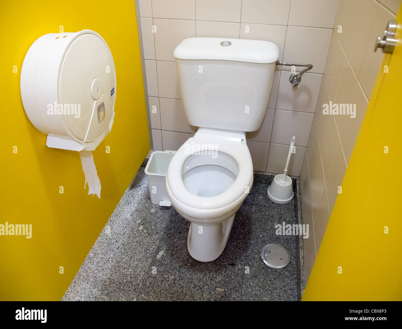 Toilet in a public restroom viewed from above - Stock Image