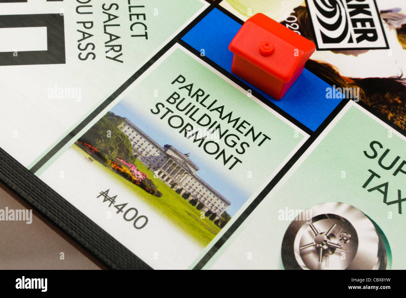 Belfast Monopoly: Building a hotel on Parliament Buildings - Stock Image