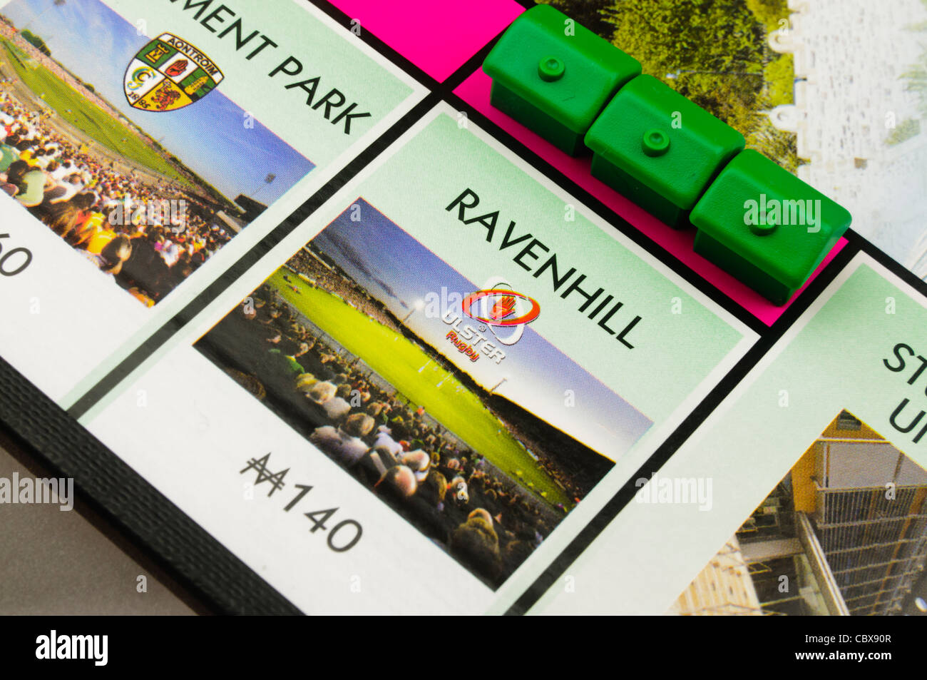 Belfast Monopoly: Building houses on Ravenhill Rugby Ground - Stock Image