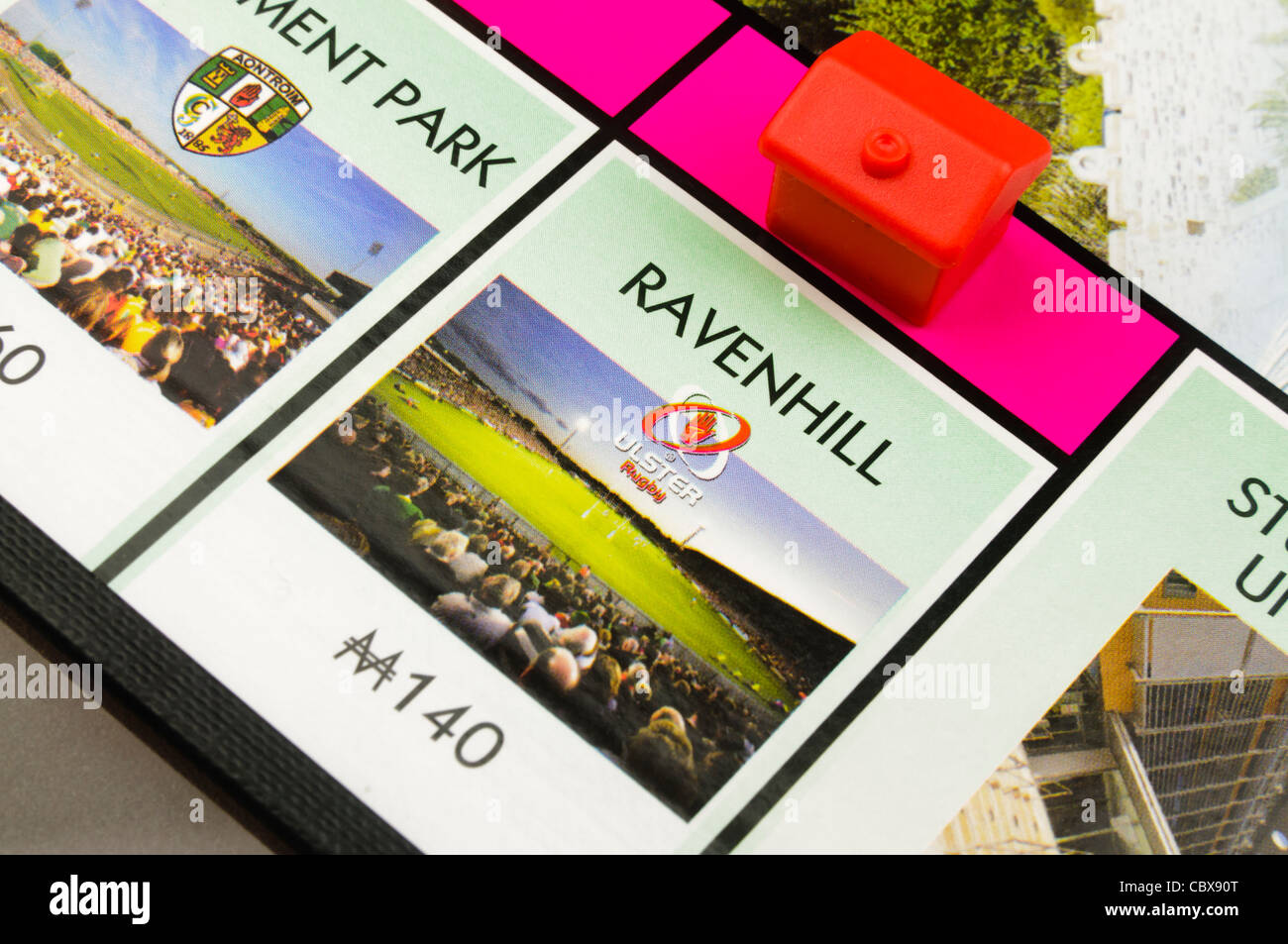Belfast Monopoly: Building a hotel on Ravenhill Rugby Ground - Stock Image