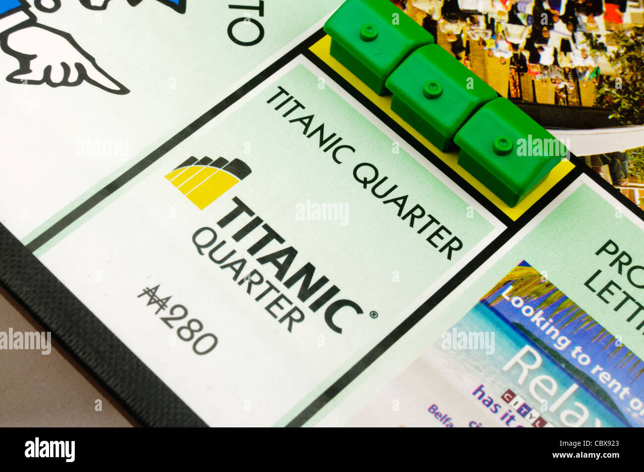 Belfast Monopoly: Building houses on Titanic Quarter - Stock Image