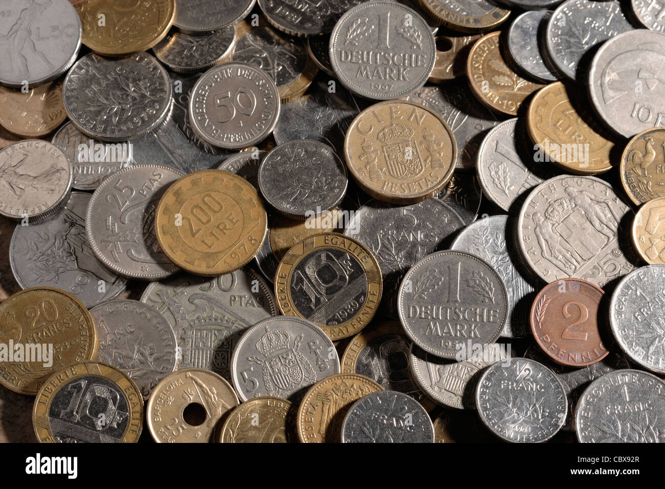 Coins from Europe before the Euro - Stock Image