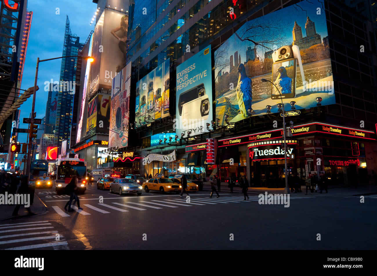 Advertising And Neon On Times Square in New York City, USA - Stock Image