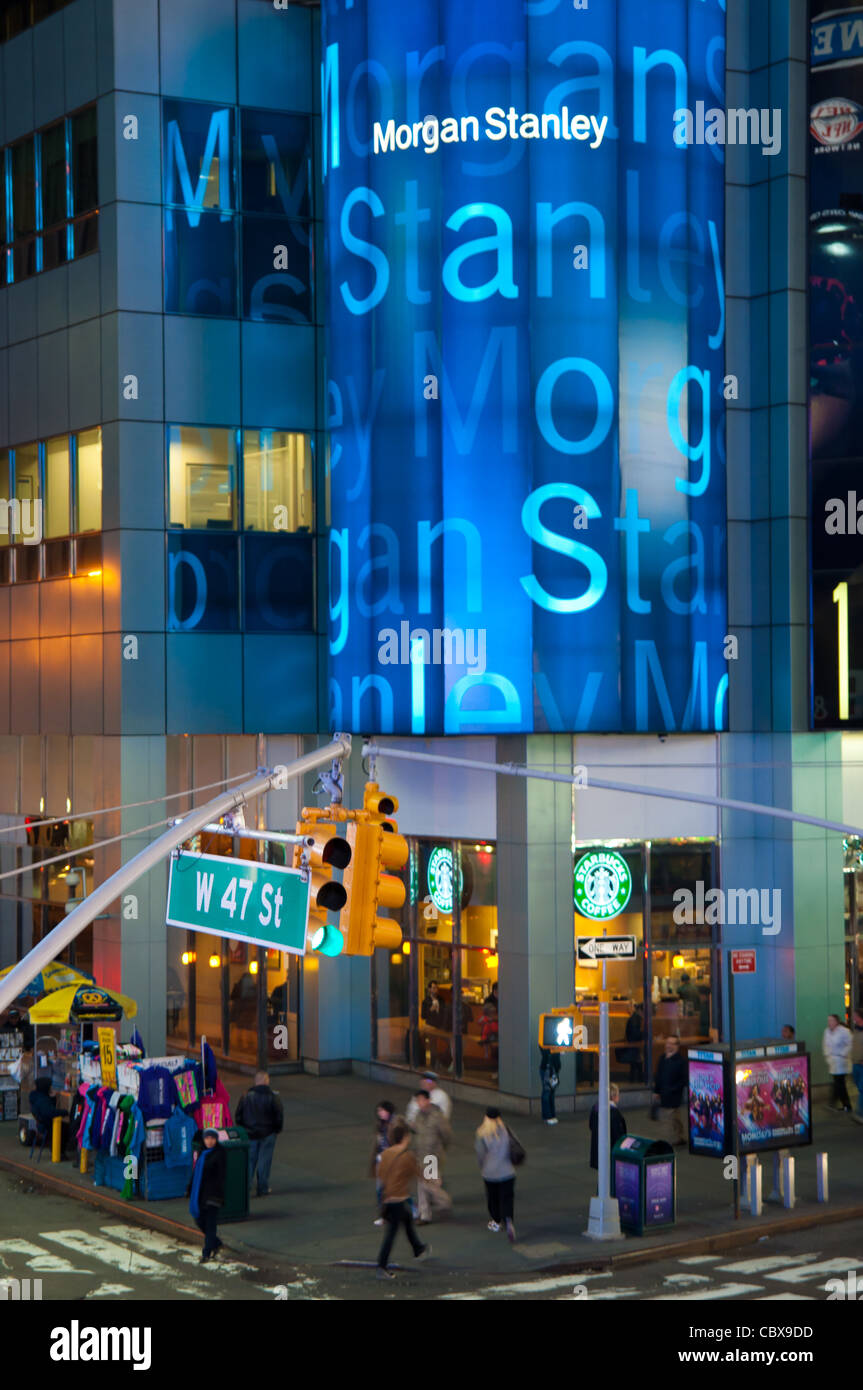 Morgan Stanley Office on W 47 street on Times Square, New York City, USA Stock Photo