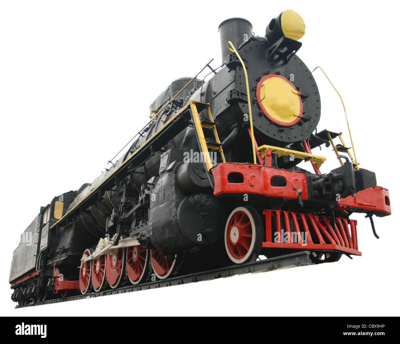 locomotive train transport travel vintage old isolated - Stock Image
