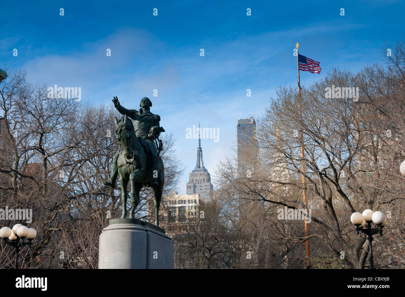 Statue of George Washington in the park of Union Square in Manhattan, New York City Stock Photo