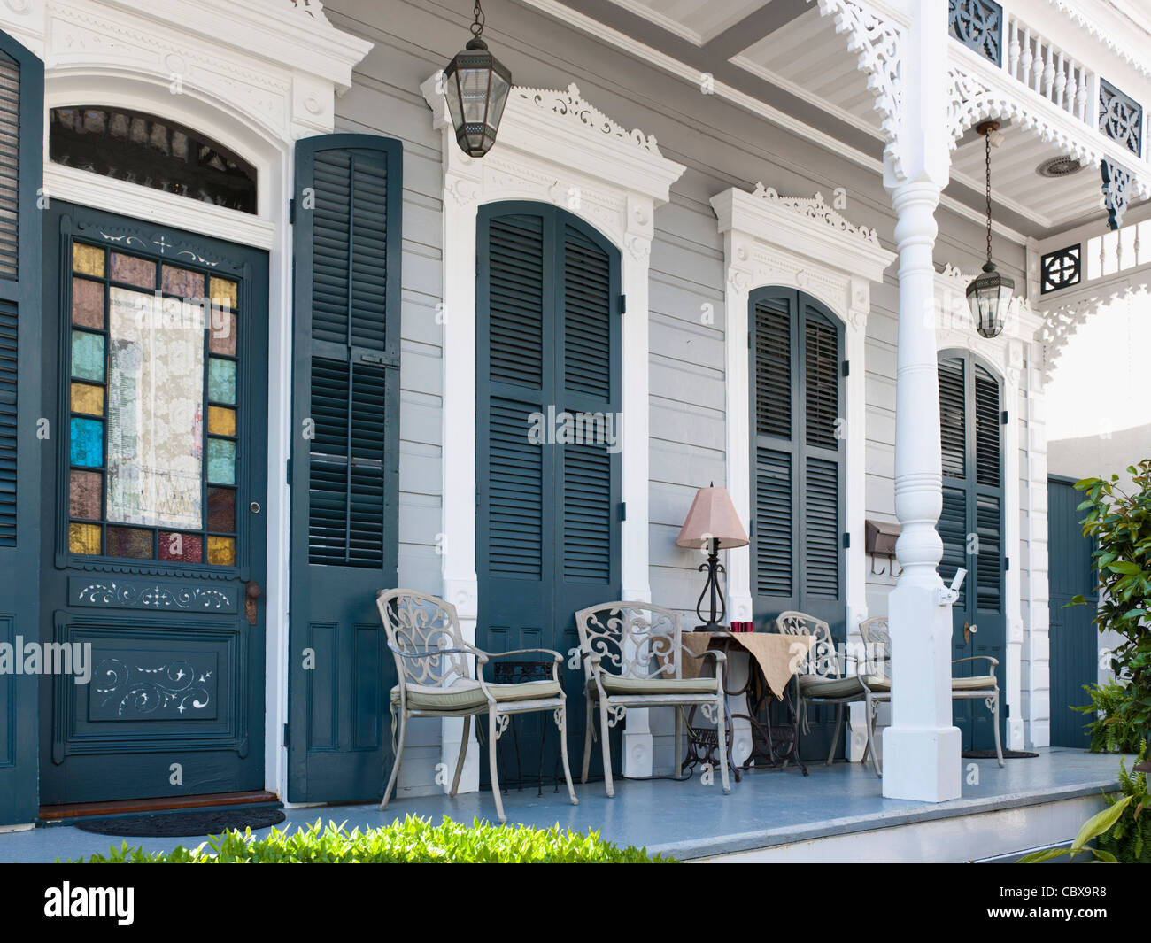 Porch detail, house in french Quarter, New Orleans - Stock Image