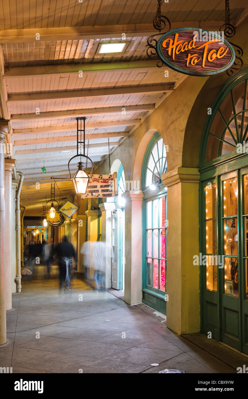 French Market shops colonnade, New Orleans - Stock Image
