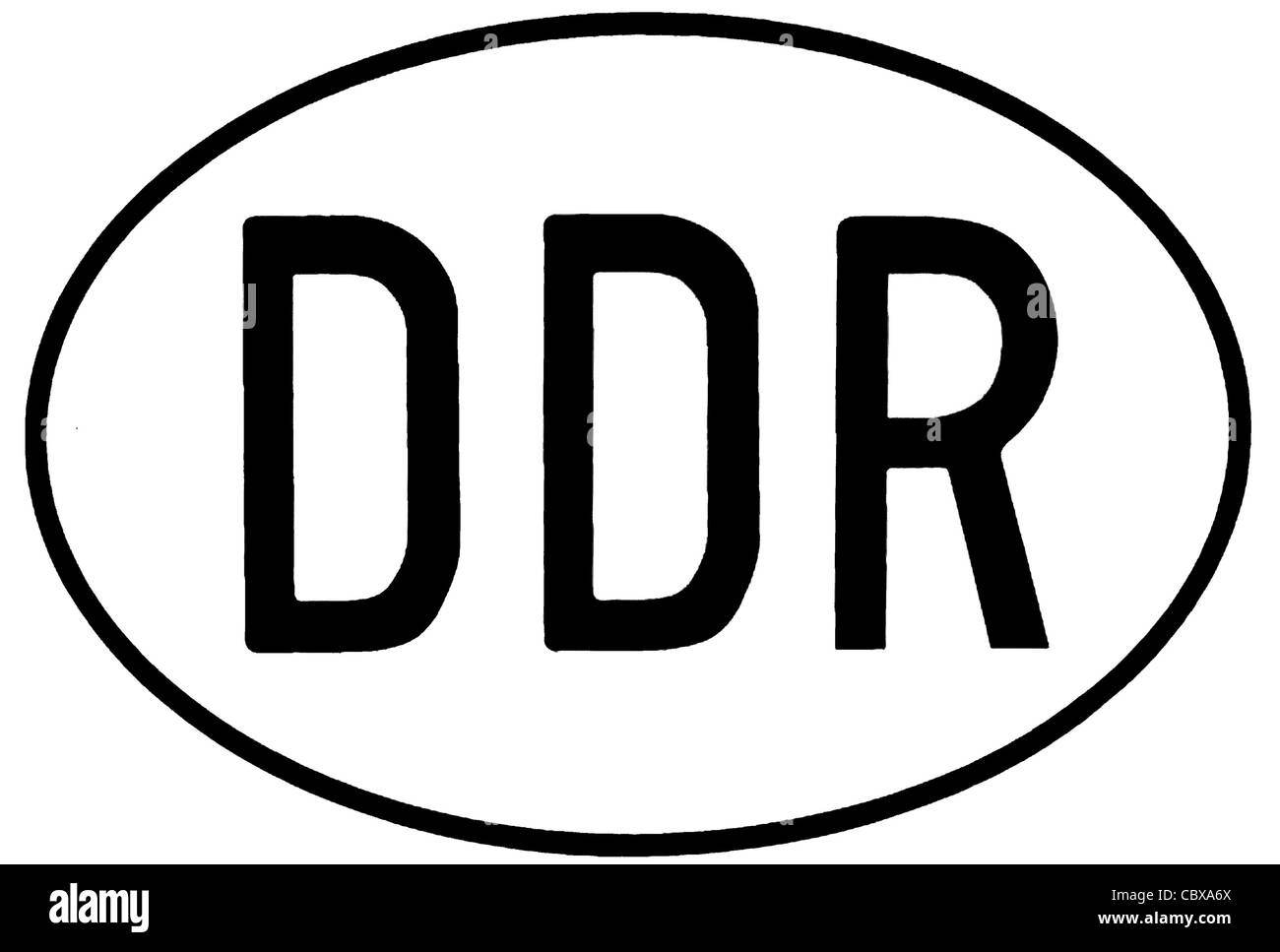 Country characteristic of the GDR for motor vehicles. - Stock Image