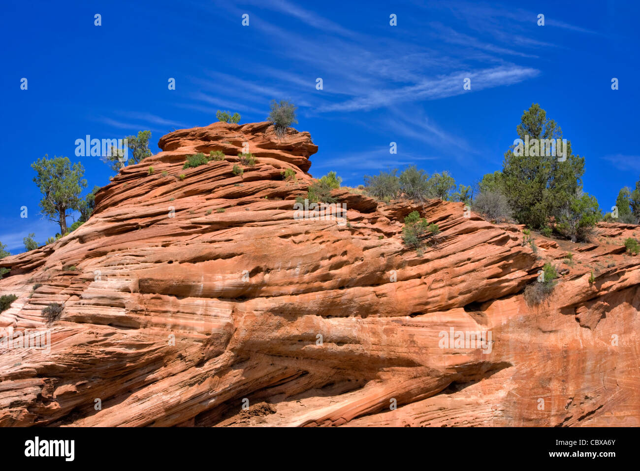 Layers of red sandstone sculpted by wind and water in a rock formation above the Kaibab Plateau, Grand Canyon National - Stock Image