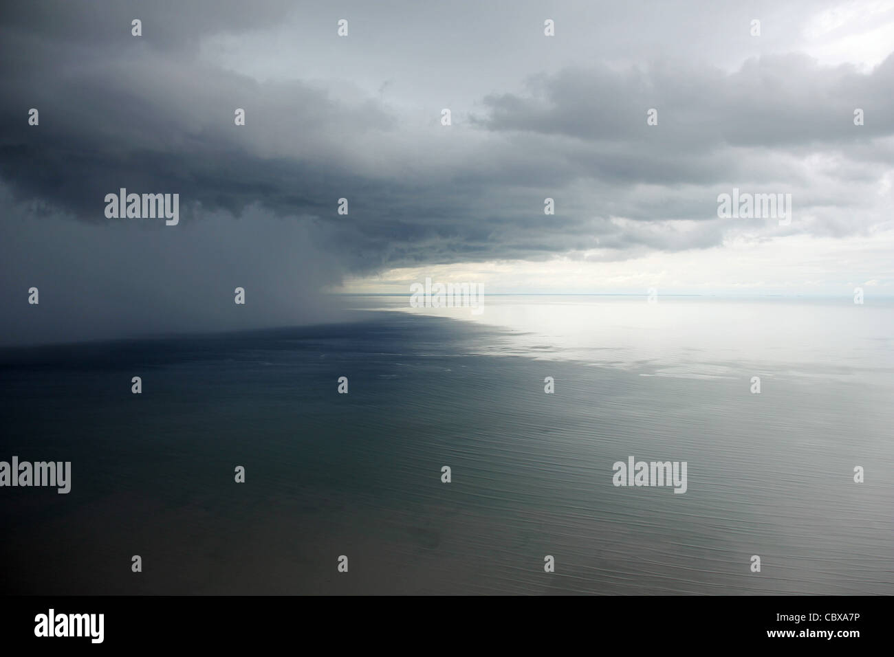 Tropical downpour off the coast of Sierra Leone, West Africa - Stock Image