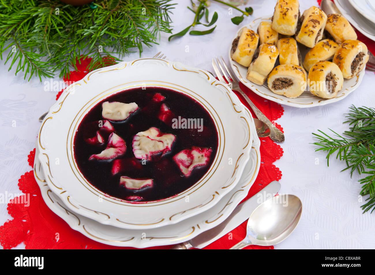 traditional polish christmas dinner soup stock image - Polish Christmas Traditions