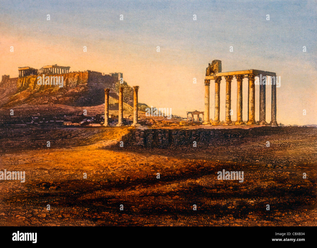 View of the Acropolis, Athens, Greece, circa1842 Stock Photo