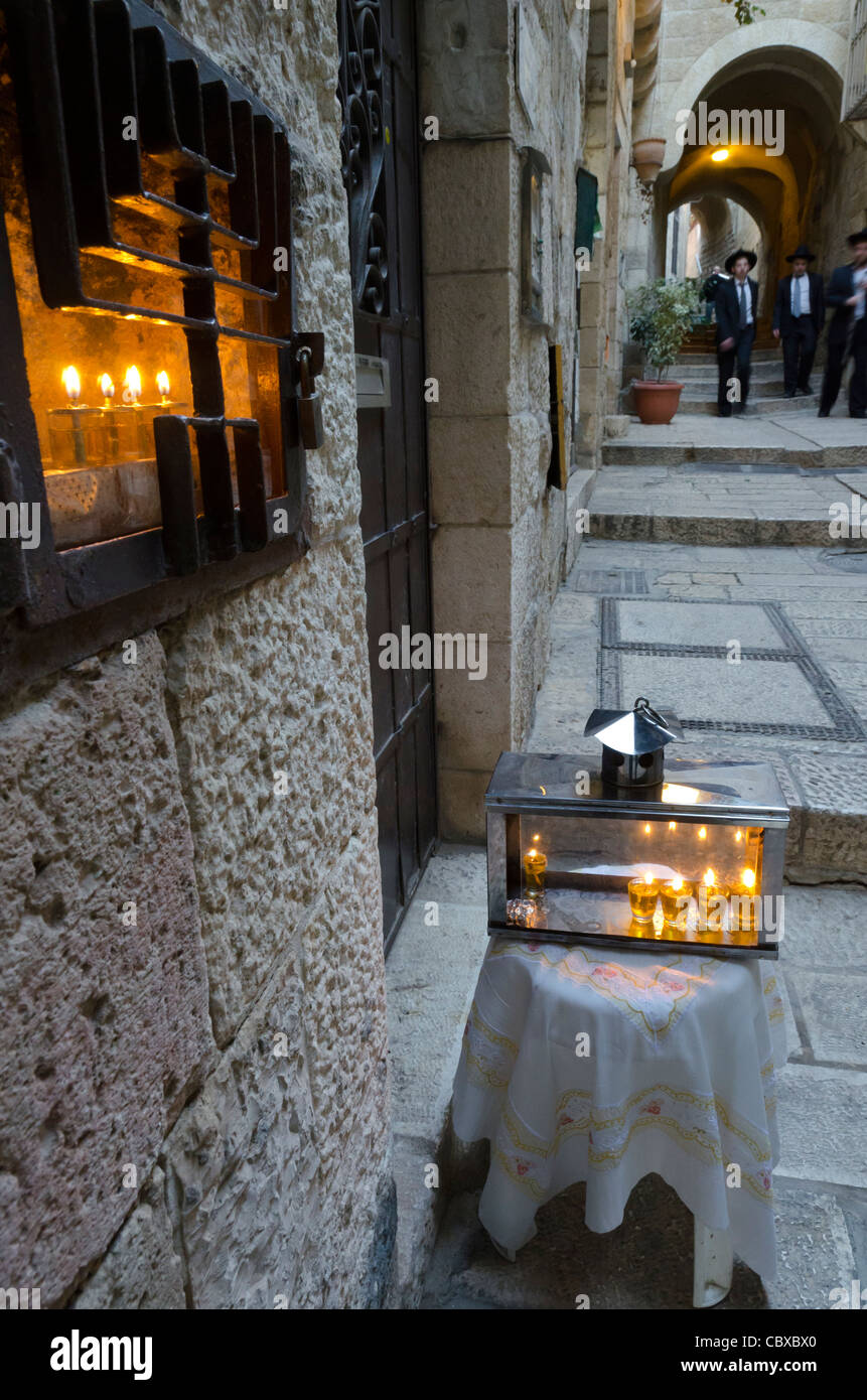 candles during the hanukah festival in the Jewish Quarter. Jerusalem Old City. israel - Stock Image