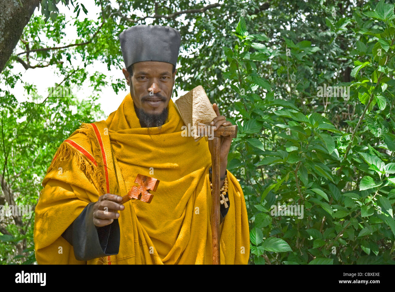 Priest of the Ethiopian Orthodox Tewahedo Church - Stock Image