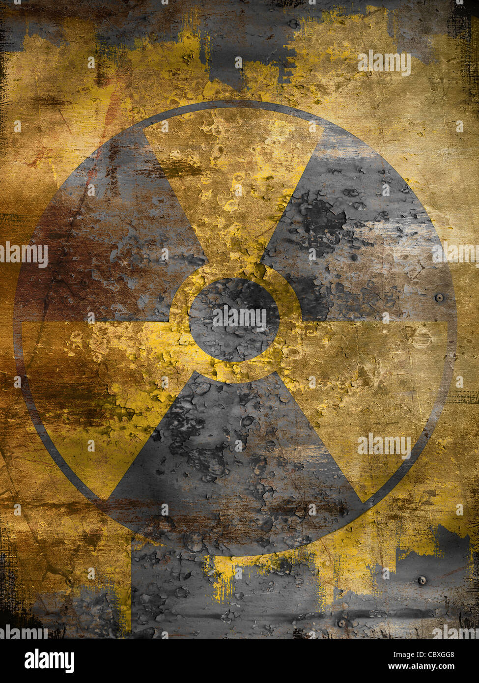 nuclear symbol  on dirty background - Stock Image