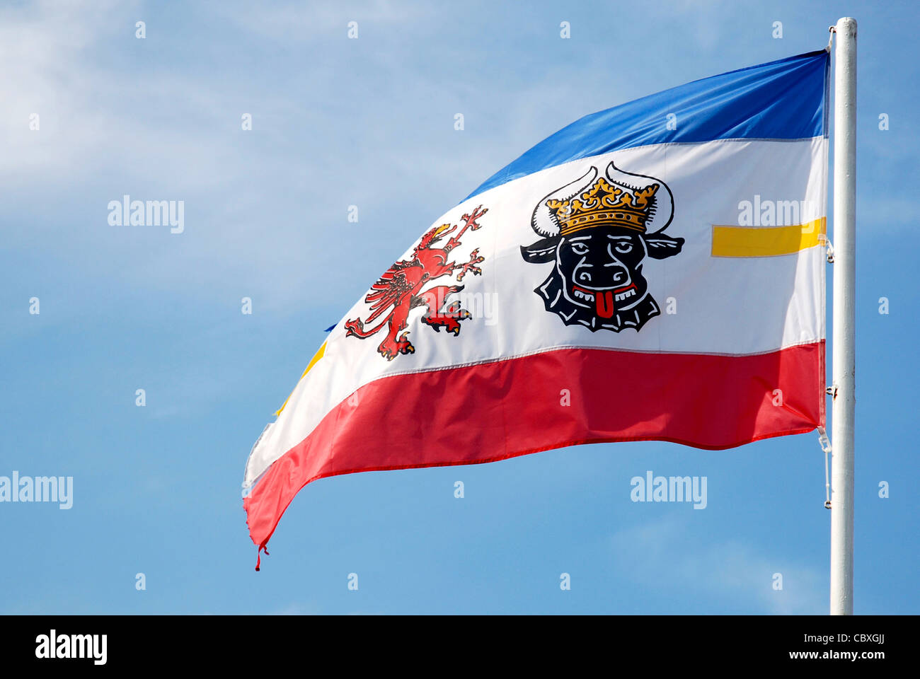 Fly flags with the coat of arms of the Federal state from Mecklenburg-Western Pomerania. - Stock Image