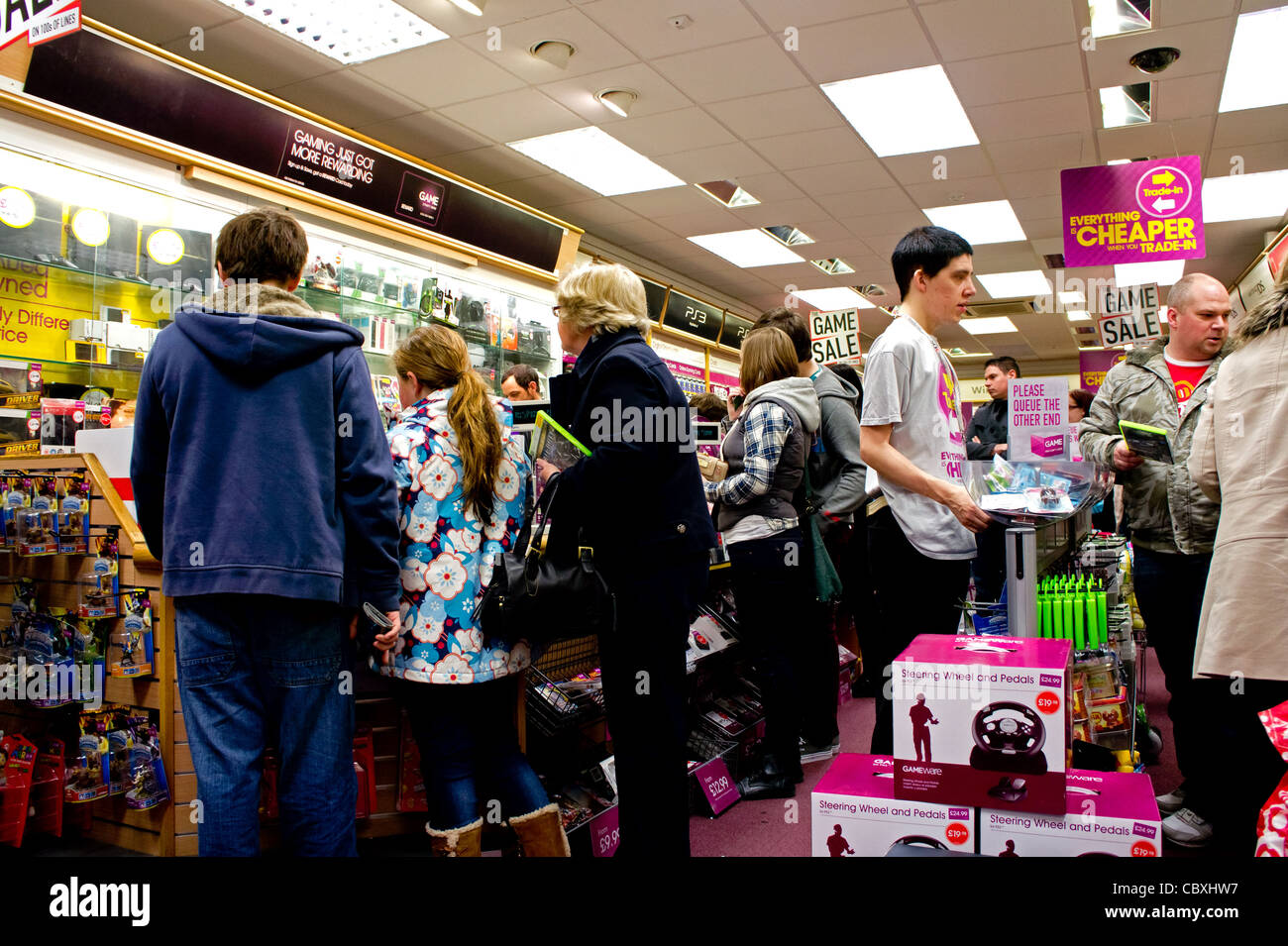 A busy ' game ' store in Truro, UK - Stock Image