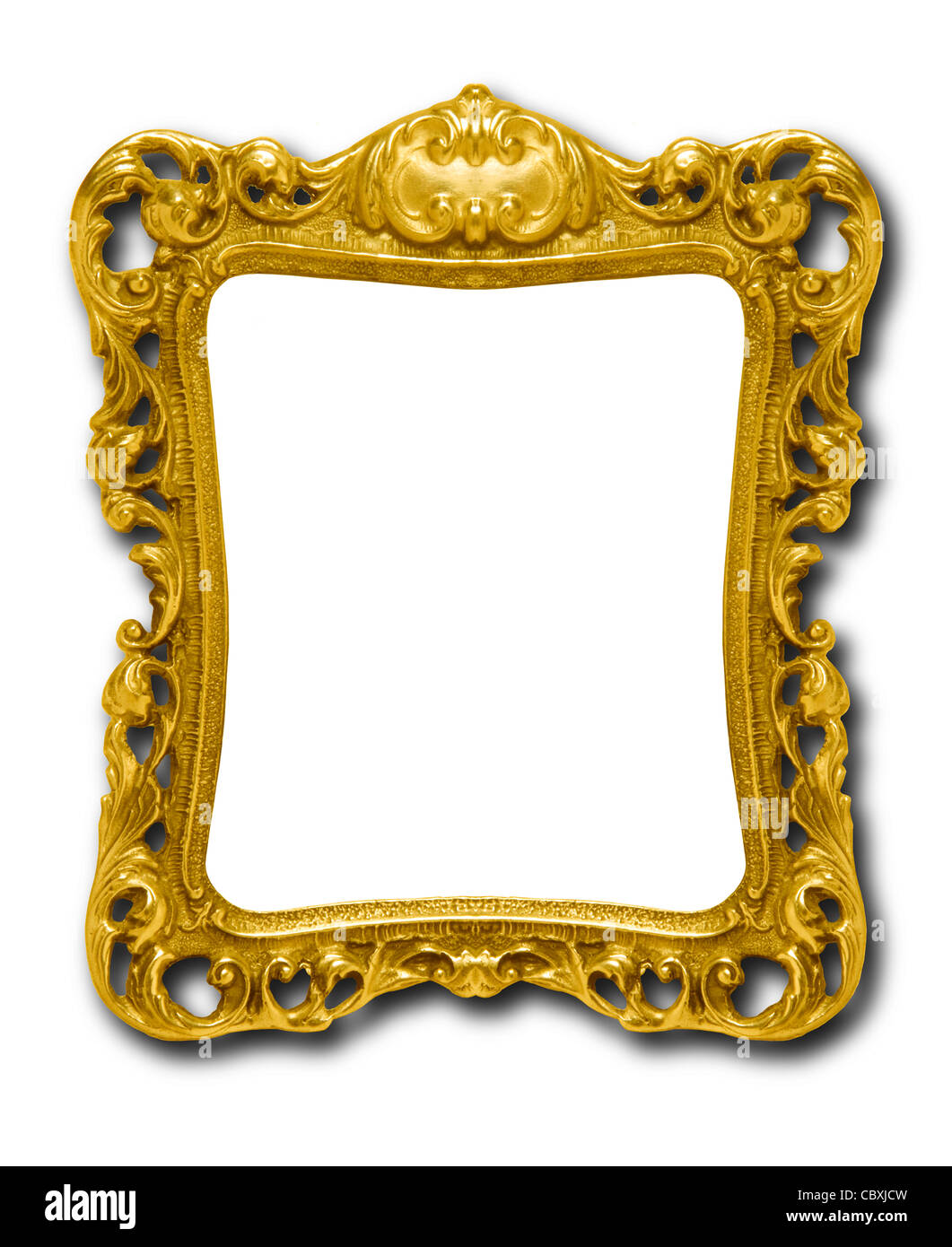 Ornate gold picture frame silhouetted against white background with drop shadow - Stock Image