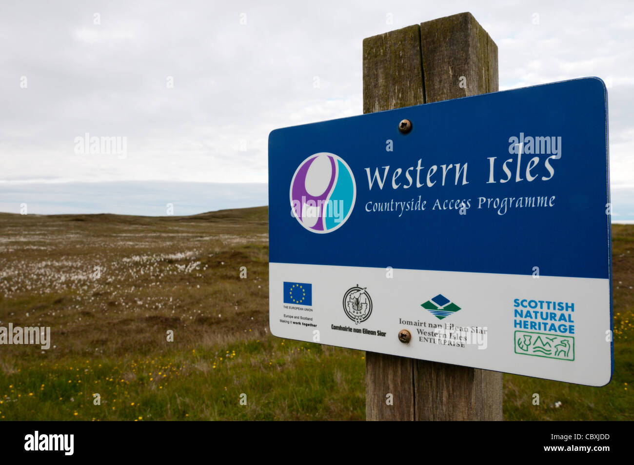 A sign for the Western Isles Countryside Access Programme on the Eye Peninsula of the Isle of Lewis in the Outer - Stock Image