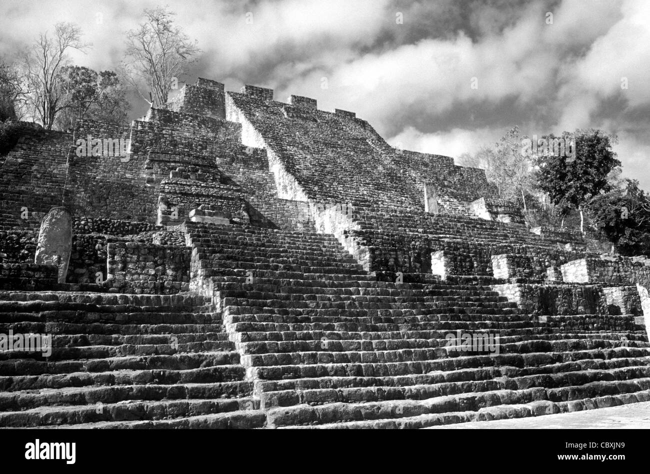 Structure II, the Great Pyramid at the Mayan ruins of Calakmul, Campeche, Mexico. Stock Photo