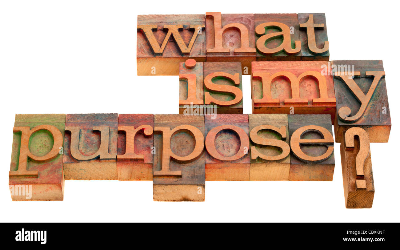 what is my purpose - spiritual and philosophical question in vintage wooden letterpress printing blocks isolated - Stock Image