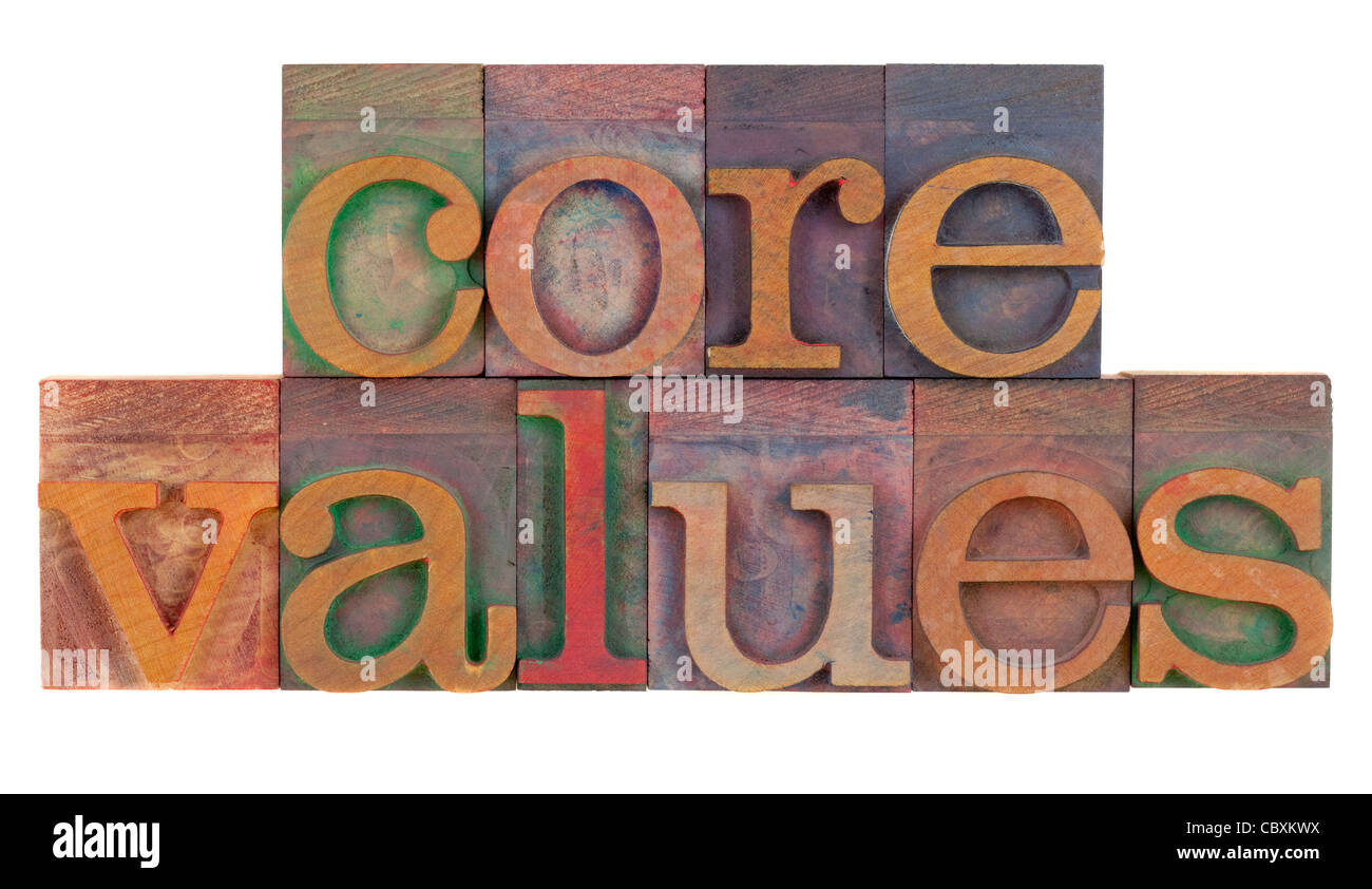 ethics concept - core values words in vintage wooden letterpress printing blocks isolated on white - Stock Image