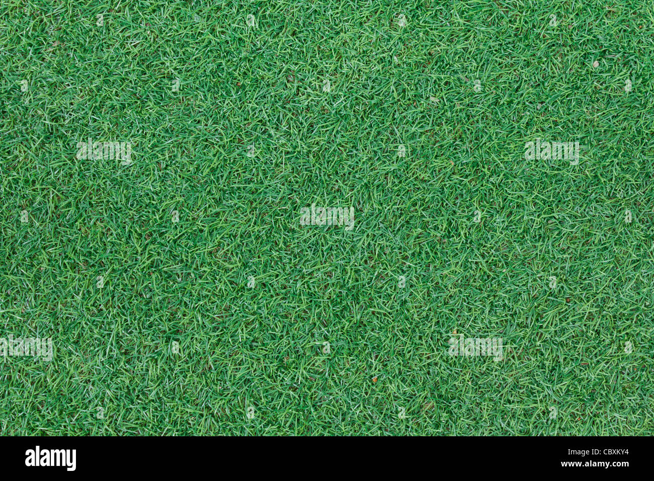 Background texture with fake grass in a public children playground, top view - Stock Image