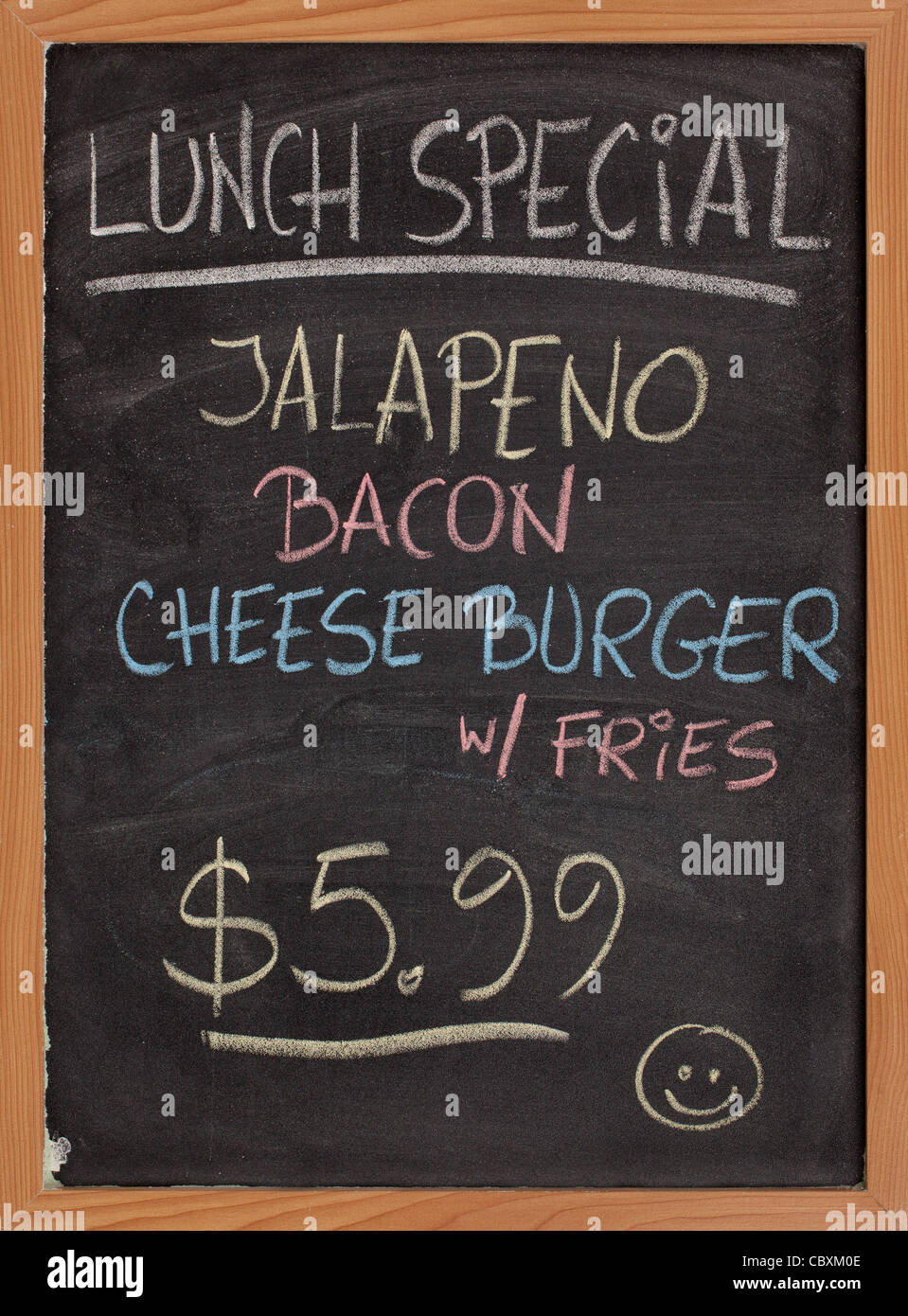 jalapeno, bacon, cheese burger, fries - lunch special menu - vertical blackboard sign with color chalk handwriting - Stock Image