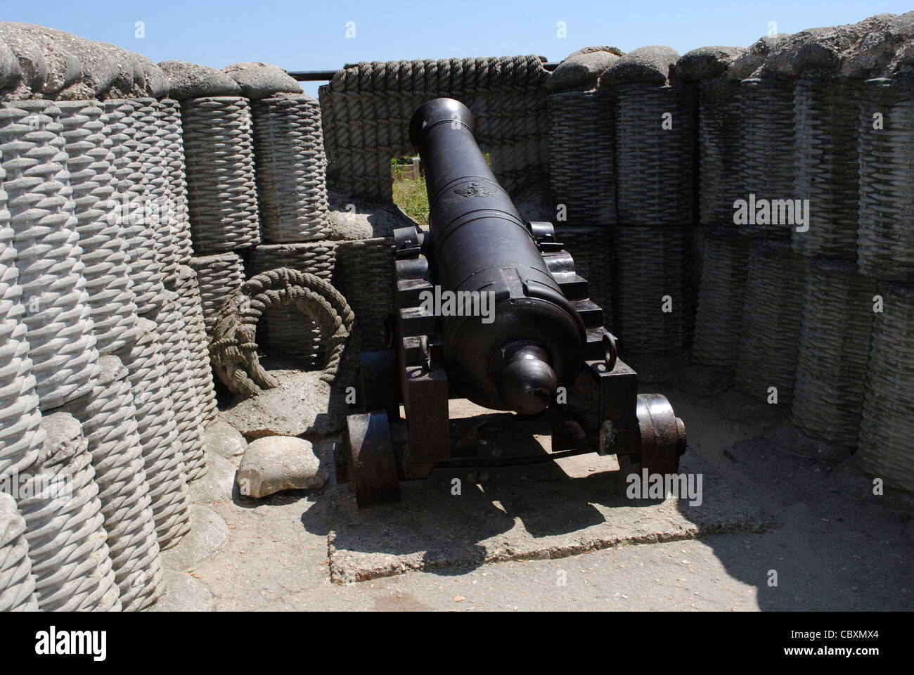 Cannon used to defend the city during the siege of Sevastopol (1854-1856). Crimean War (1853-1856). Sevastopol. - Stock Image