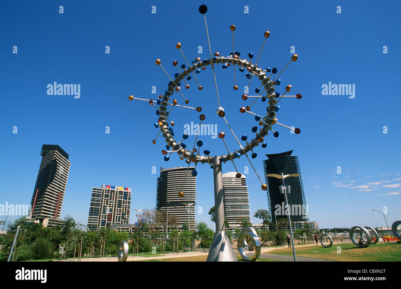 Duncan Stemler's Blowhole at the playground and park of the redeveloped docklands in Melbourne, Victoria, Australia - Stock Image