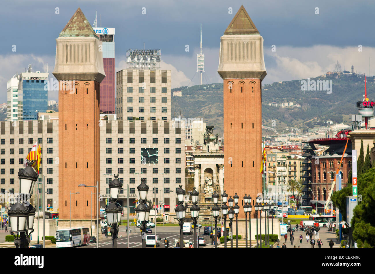 Mont Juic park. Barcelona. Catalonia. Spain - Stock Image