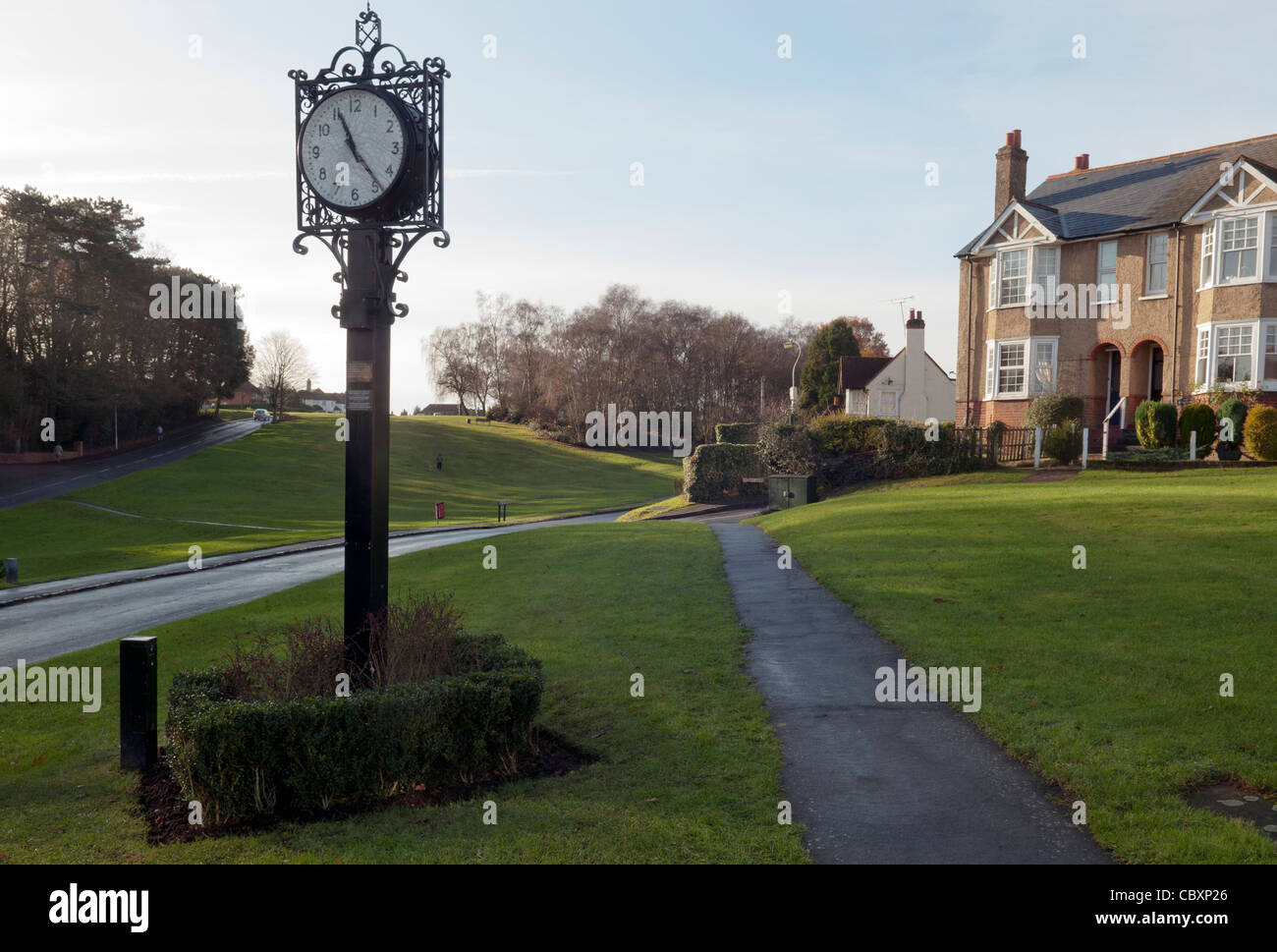 Commemoration memorial clock Gold Hill common Chalfont St Peter village Bucks - Stock Image