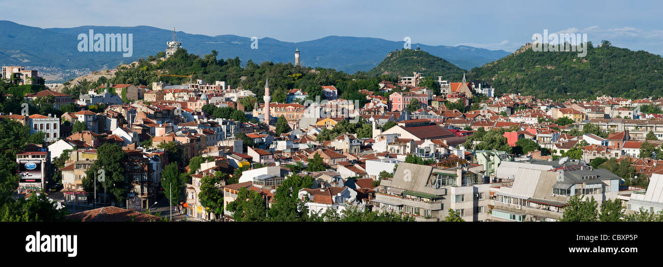 Panorama of Plovdiv city (Bulgaria) - Stock Image