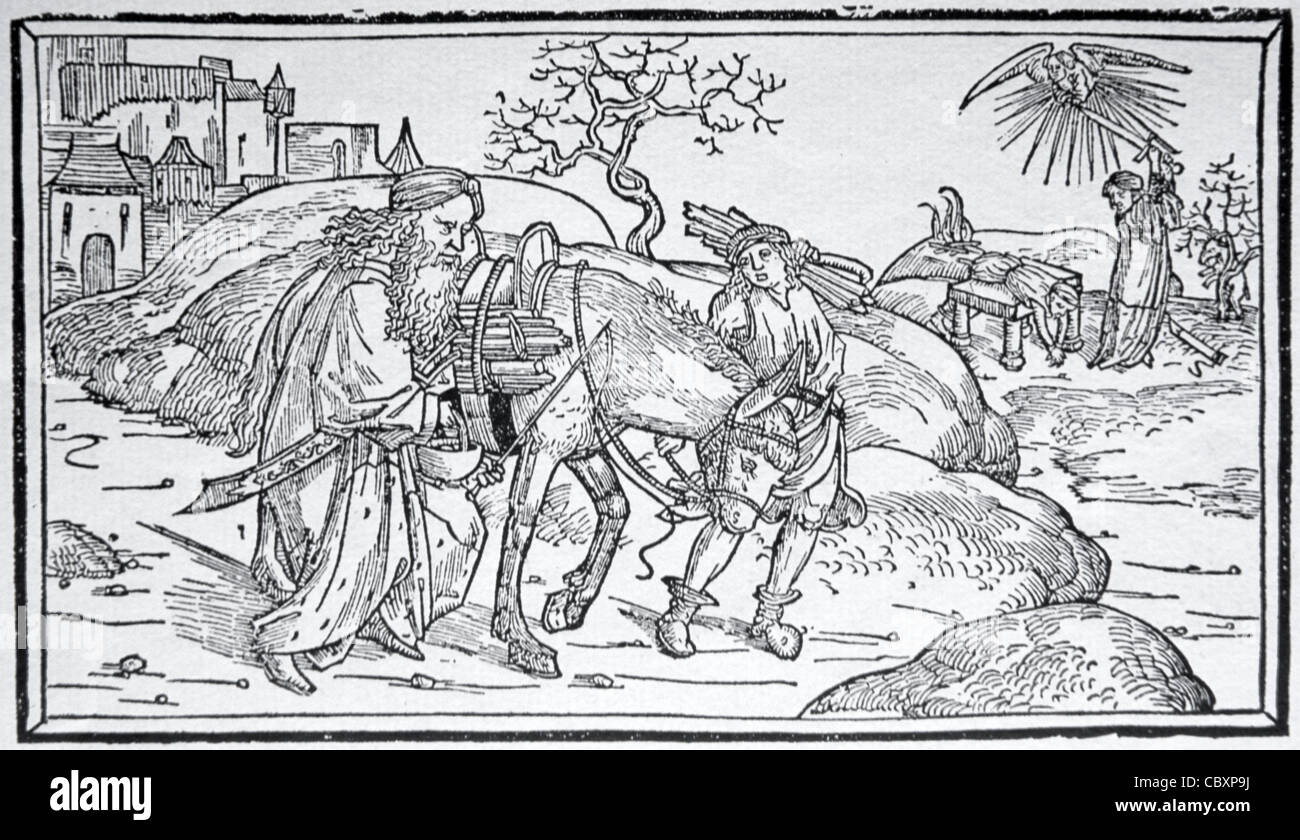 Abraham and Isaac on the Way to Moriah Mountain for Sacrifice of Isaac, Wood Cut from Low-German Bible, Lübeck, - Stock Image
